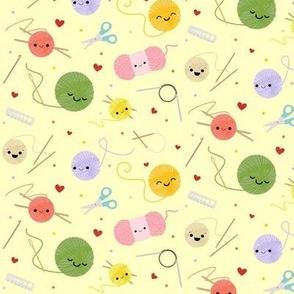 Happy Knitting Friends - Yellow