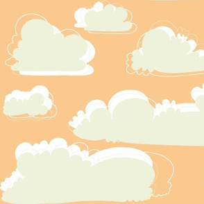 birds peach and sage clouds