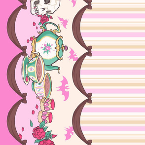 Pretty Creepy Tea Party Border Print