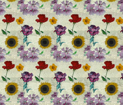 Botanical sketchbook -small fabric by linsart on Spoonflower - custom fabric