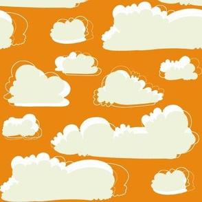 birds orange and sage clouds