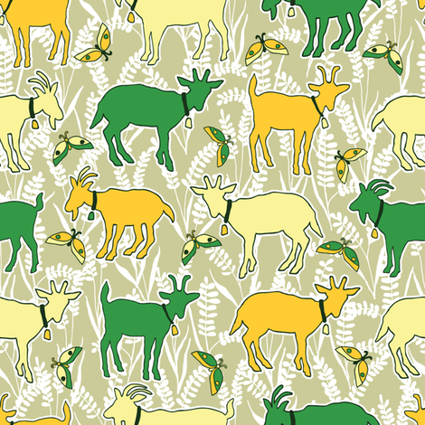 goats go_to_heaven-01 fabric by laura_mooney on Spoonflower - custom fabric