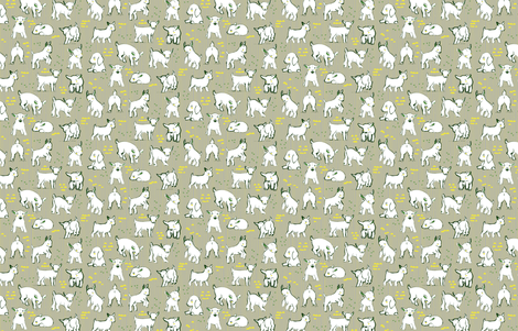 Baby Goats in Grey by Friztin fabric by friztin on Spoonflower - custom fabric