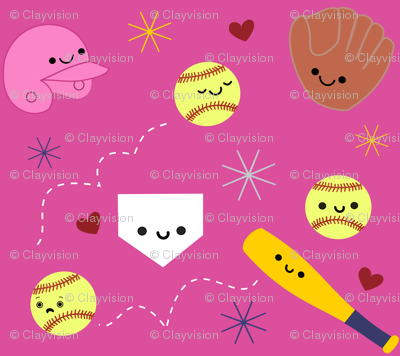 Happy Softball and Friends - Pink