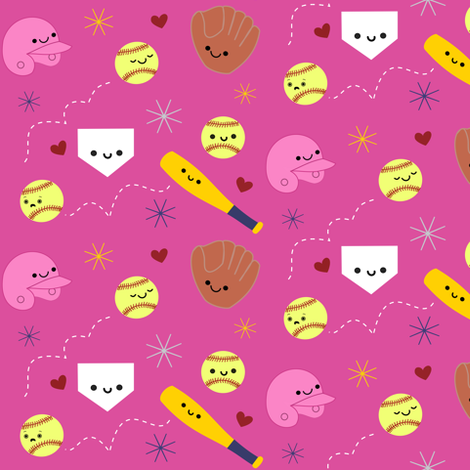 Happy Softball and Friends - Pink fabric by clayvision on Spoonflower - custom fabric