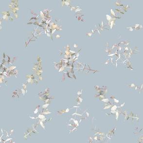 Silver Eucalyptus foliage on blue b7c4cb