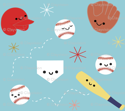 Happy Baseball and Friends - Light Blue