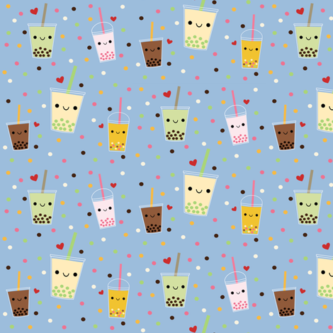 Happy Boba Bubble Tea - Blue fabric by clayvision on Spoonflower - custom fabric