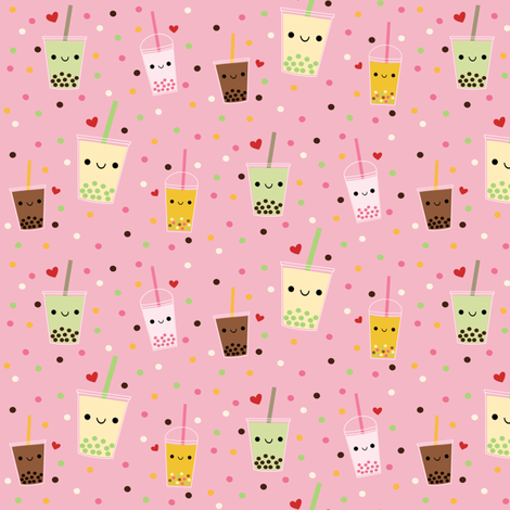 Happy Boba Bubble Tea - Pink fabric by clayvision on Spoonflower - custom fabric