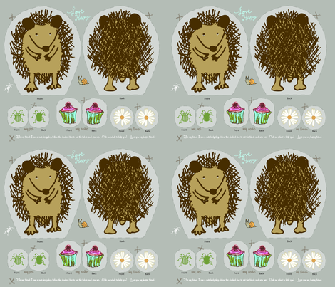 Hedgehog_baby_doll fabric by annecotedesign on Spoonflower - custom fabric