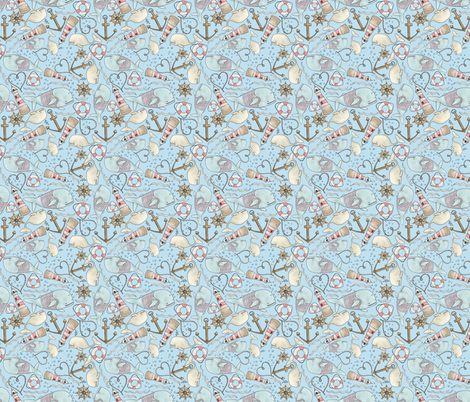 Nautical Print fabric by whimsymilieu on Spoonflower - custom fabric