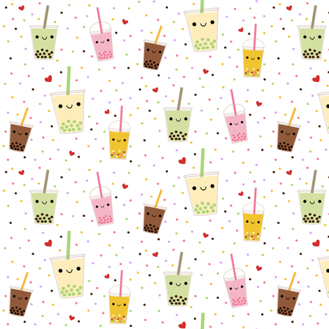 Happy Boba Bubble Tea fabric by clayvision on Spoonflower - custom fabric