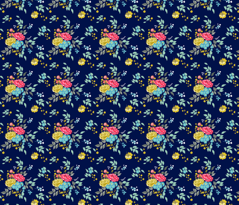Navy Pastel Roses fabric by sixteenstitches on Spoonflower - custom fabric