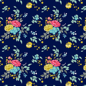 Navy Pastel Roses