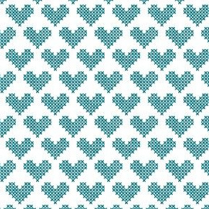Frederica Cross Stitch Hearts in Teal