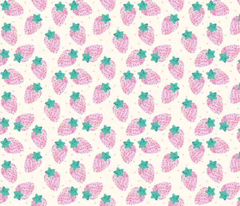 Watercolour Pastel Strawberries on Beige fabric by sylviaoh on Spoonflower - custom fabric