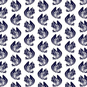 Frederick Squirrel Navy on White