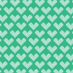 Frederick Cross Stitch Hearts in Mint