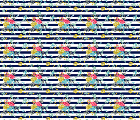 Lined Navy Pastel Roses fabric by sixteenstitches on Spoonflower - custom fabric