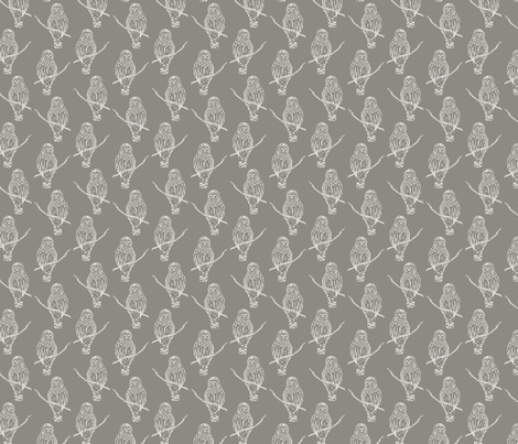 Sir Oswald Owl in Gray fabric by katebillingsley on Spoonflower - custom fabric