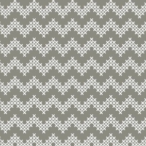 Sir Oswald Cross Stitch Chevron in Gray