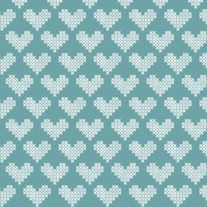 Sir Oswald Cross Stitch Heart in Faded Blue