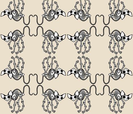 Curled Toes SphynxieBonez Flipped in Beige fabric by glamourpuss on Spoonflower - custom fabric