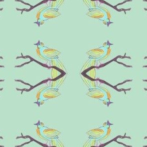 Songbird in orange, mint, turquoise, and bright purple