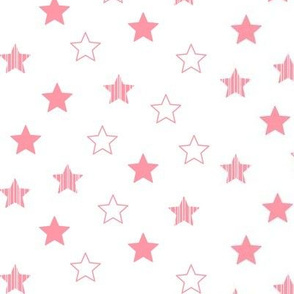 Stars Scattered - Coral on White