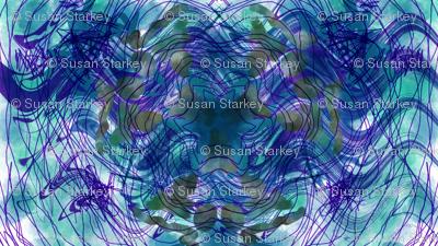 Blue Purple Teal Painting 01 Symmetrical Kaleidoscopic