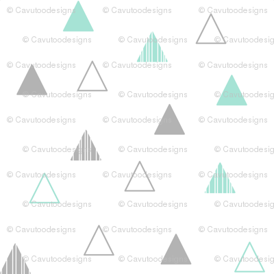 Cheeky Triangles - Mint & Gray on White