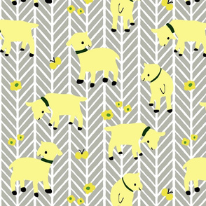 Yellow Goats on Grey Herringbone