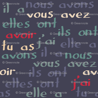 """Avoir - the French verb """"to have"""" (blue grey)"""