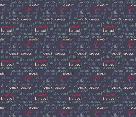 """Avoir - the French verb """"to have"""" (blue grey) fabric by greennote on Spoonflower - custom fabric"""