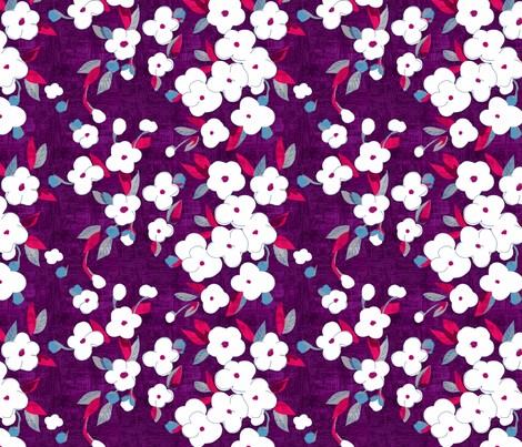 white flowers on sweet berries fabric by glimmericks on Spoonflower - custom fabric