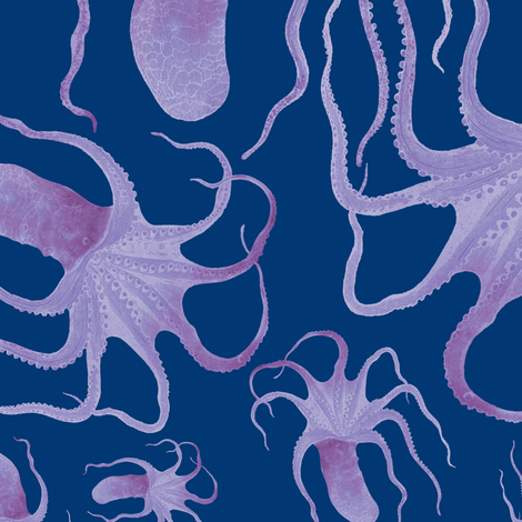 violet cephalopod on cyanotype blue fabric by trollop on Spoonflower - custom fabric