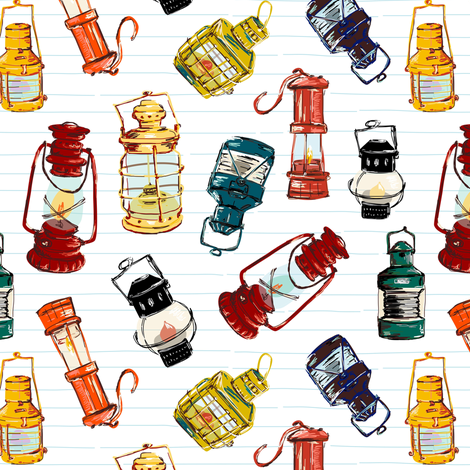 Vintage Lanterns fabric by oleynikka on Spoonflower - custom fabric