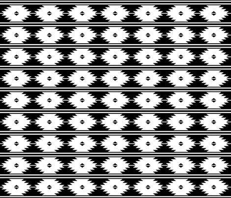 aztec_white_on_black_2inch fabric by mspiggydesign on Spoonflower - custom fabric