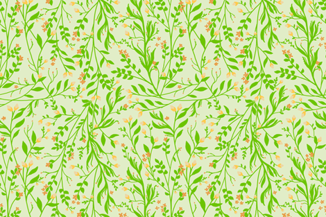 Tangled, Green on Pale green fabric by thistleandfox on Spoonflower - custom fabric