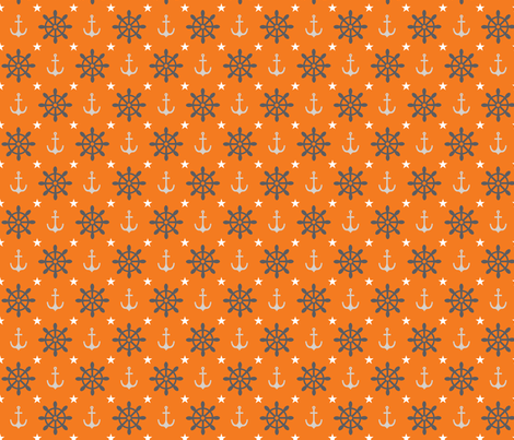 wheels and anchors orange fabric by cjldesigns on Spoonflower - custom fabric