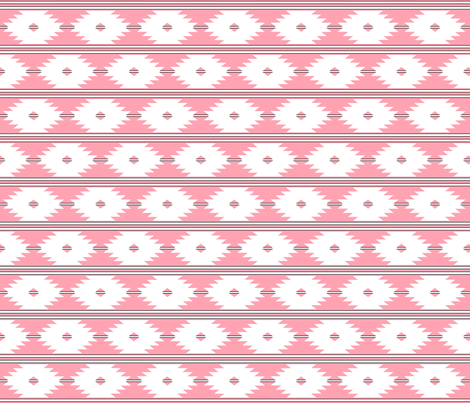 aztec_white_on_coral_with_black_stripes_2inch fabric by mspiggydesign on Spoonflower - custom fabric