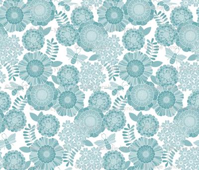 bee garden tonal blue