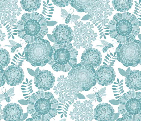bee garden tonal blue fabric by cjldesigns on Spoonflower - custom fabric