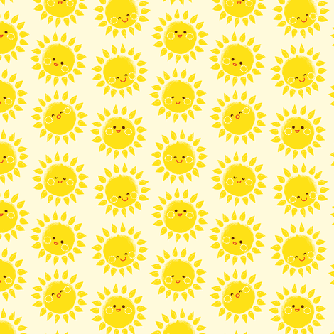 sunny suns in white fabric by irrimiri on Spoonflower - custom fabric