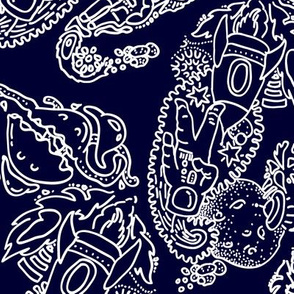 Paisley - Cosmic Paisley White on Navy