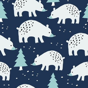 Polar bears in the winter forest