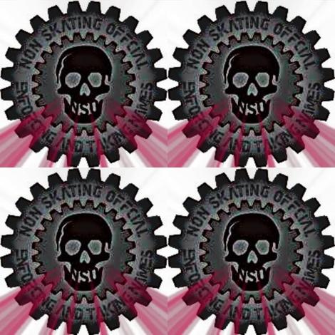 4 inch nso skull red flare fabric by derbymom716 on Spoonflower - custom fabric