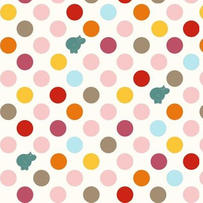 Hippo Birdie Colored Dots