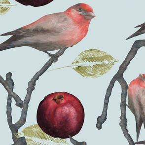 Pomegranates and Finches/Touch of Blue