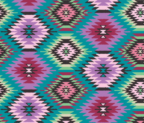 Navajo Dreams-Turquoise fabric by bohemiangypsyjane on Spoonflower - custom fabric